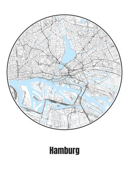 Illustration Map of Hamburg