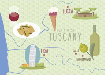 Konsttryck Map of Lucca and Pisa, Tuscany, Italy