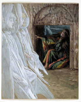 Konsttryck  Mary Magdalene Questions the Angels in the Tomb, illustration for 'The Life of Christ', c.1886-94