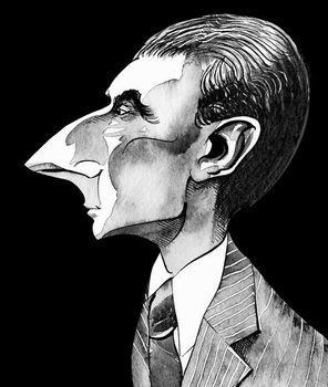 Konsttryck Maurice Ravel, French composer  , grey tone watercolour caricature, 1996 by Neale Osborne
