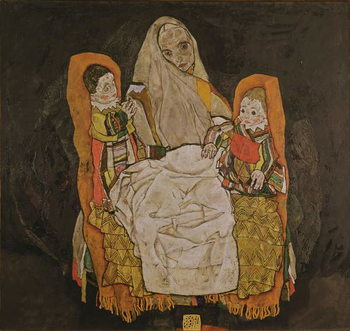Konsttryck Mother with Two Children, 1915-17