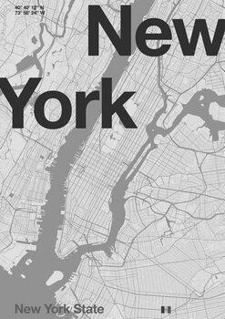 Konsttryck New York Minimal Map