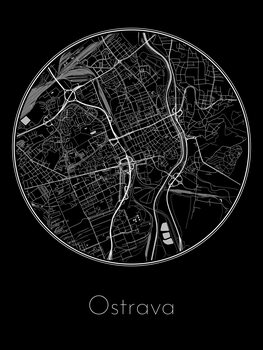 Karta över Ostrava