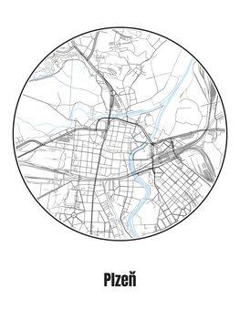 Karta över Plzeň