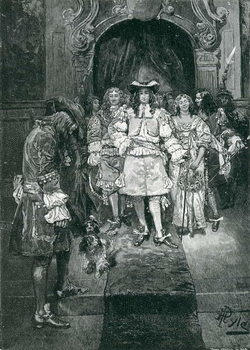 Konsttryck Quaker and King at Whitehall, engraved by Frank French (1850-1933) illustration from 'The Early Quakers in England and Pennsylvania' by Howard Pyle, pub. in Harper's Magazine, 1882