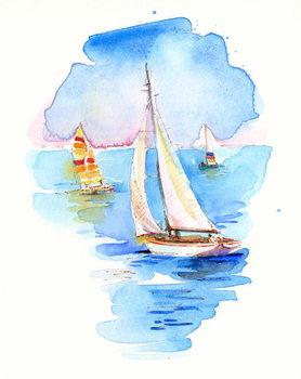 Konsttryck Sailboats, 2017,