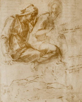 Konsttryck Saint Anne, the Virgin and Child and a study of a nude man
