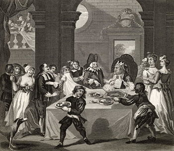 Konsttryck  Sancho at the Feast Starved by his Physician, from 'The Works of Hogarth', published 1833
