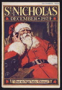Konsttryck Santa Claus listening to the radio