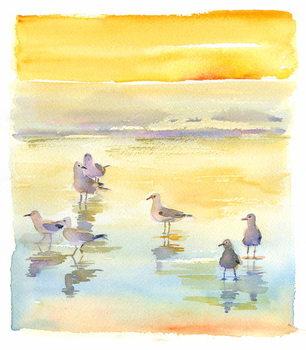 Konsttryck Seagulls on beach, 2014,