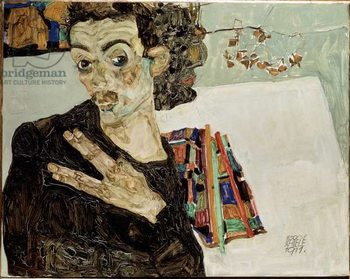 Konsttryck Self-portrait with fingers apart. Painting by Egon Schiele , 1911. Oil on canvas. Sun: 27,5x34 Vienne, Historisches Museum of the City