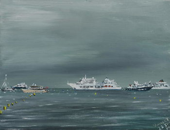 Konsttryck Ships and boats at Cannes, 2014,