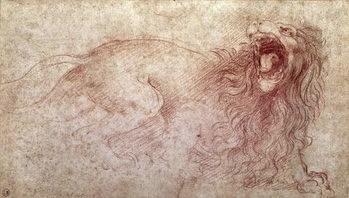 Konsttryck Sketch of a roaring lion