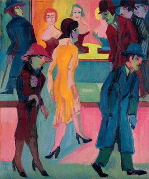 Konsttryck Street Scene by the Barber Shop; Strassenbild vor dem Friseurladen, 1926