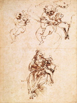 Konsttryck  Studies for a Madonna with a Cat, c.1478-80