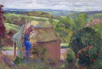 Konsttryck Thatching the Summer House, Lanhydrock House, Cornwall, 1993