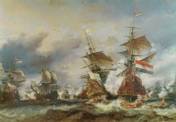 Konsttryck  The Battle of Texel, 29 June 1694