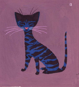 Konsttryck  The Blue Cat, 1970s