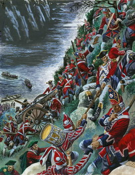 Konsttryck The British soldiers make the arduous ascent of the Heights of Abraham to take Quebec