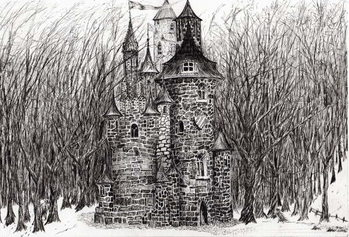 Konsttryck The Castle in the forest of Findhorn, 2006,