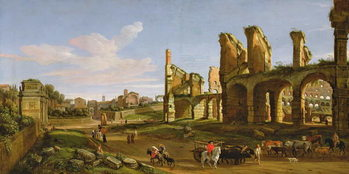 Konsttryck  The Colosseum and the Roman Forum, 1711