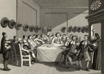Konsttryck  The Committee, from 'Hudibras' by Samuel Butler (1612-80) engraved by Charles Mottram (1807-76) from 'The Works of William Hogarth', published 1833