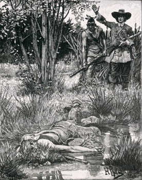 Konsttryck  The Death of King Philip, engraved by A. Hayman, from Harper's Magazine, 1883