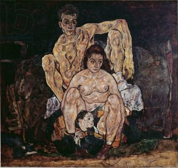 Konsttryck The family. Painting by Egon Schiele , 1917. Oil on canvas. Dim: 152,5x191,8cm. Vienna, Oesterreichische Galerie im Belvedere