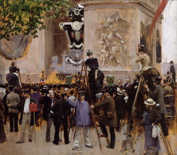 Konsttryck The Funeral of Victor Hugo (1802-85) at the Arc de Triomphe, 1885