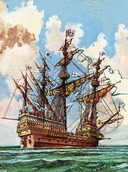 Konsttryck  The Great Harry, flagship of King Henry VIII's fleet