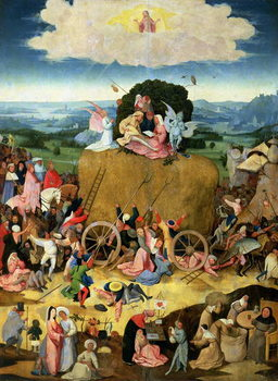 Konsttryck The Haywain: central panel of the triptych, c.1500