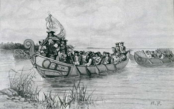 Konsttryck The Landing of Cadillac, illustration from 'The City of the Strait' by Edmund Kirke, pub. in Harper's Magazine, 1886