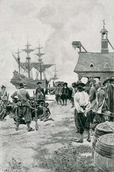 Konsttryck The Landing of Negroes at Jamestown from a Dutch Man-of-War, 1619, illustration from 'Colonies and Nation' by Woodrow Wilson, pub. in Harper's Magazine, 1901