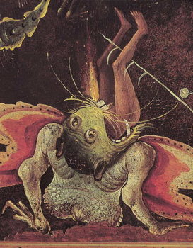 Konsttryck  The Last Judgement, detail of a man being eaten by a monster, c.1504