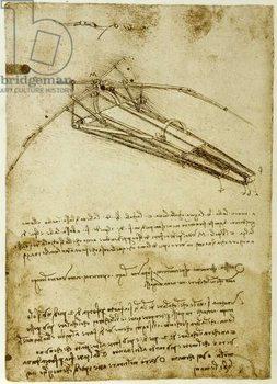 Konsttryck The Machine for flying by Leonardo da Vinci  - Codex Atlantique