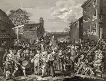 Konsttryck The March to Finchley, engraved by T.E. Nicholson, from 'The Works of Hogarth', published 1833