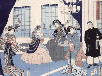 Konsttryck The salon of a house of foreign merchants at Yokohama, 1861
