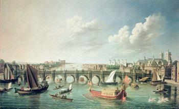 Konsttryck The Thames below Westminster Bridge