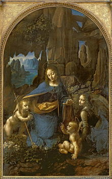 Konsttryck  The Virgin of the Rocks (with the Infant St. John adoring the Infant Christ accompanied by an Angel), c.1508