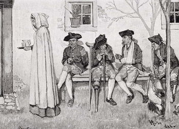 Konsttryck 'The Wounded Soldiers Sat Along the Wall', illustration from Harper's Magazine, October 1889