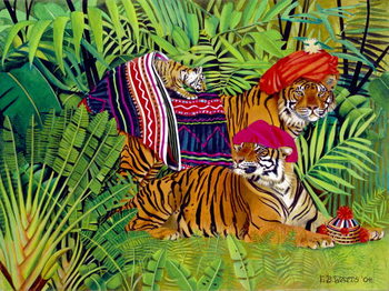 Konsttryck Tiger family with Thai Clothes, 2004