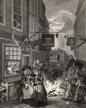 Konsttryck  Times of the Day: Night, from 'The Works of William Hogarth', published 1833