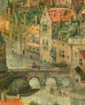 Konsttryck Town detail from Tower of Babel, 1563