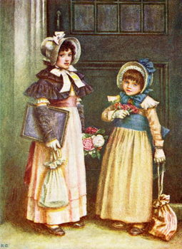 Konsttryck 'Two girls going to school'  by Kate Greenaway.