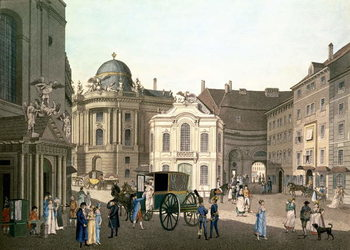 Konsttryck  View of Michaelerplatz showing the Old Burgtheater