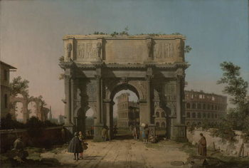Konsttryck  View of the Arch of Constantine with the Colosseum, 1742-5