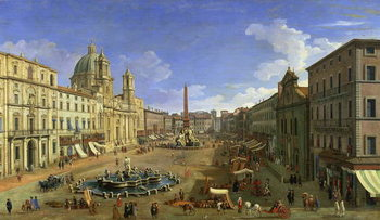 Konsttryck  View of the Piazza Navona, Rome