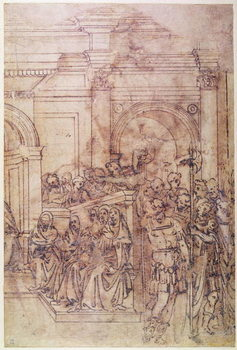 Konsttryck W.29 Sketch of a crowd for a classical scene