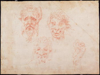 Konsttryck W.33 Sketches of satyrs' faces
