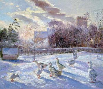 Konsttryck Winter Geese in Church Meadow